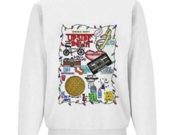 """White """"Stranger Things"""" Crewneck Sweatshirt"""