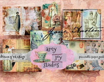 Jane Austen Printable  Junk Journal  Pride & Prejudice  Digital journal Kit  Printable Journal Paper  Junk Journals  ephemera pack  mini