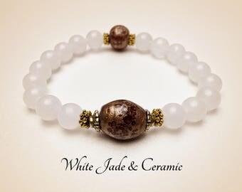 Healing Bracelet. Mala Yoga Bracelet. White Gemstone Bracelet. Good Luck. Jade Bracelet. Ceramic Bracelet. Protection Bracelet. #M174