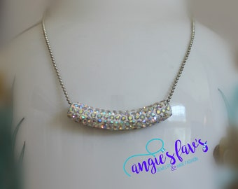 Ball Chain Necklaces, Curved Jeweled Bead