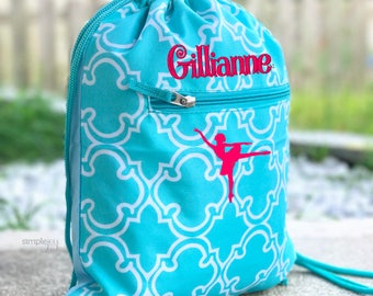 4 colors- Ballet Bag, Teal Drawstring Backpack, Dance Bag, Cinch Bag, Personalized Drawstring Bag, Girl Gym Bag, Cinch Sack, Girls Dance Bag