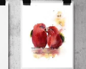 Birds Love Couple Art Print, Birds Pair, Red Love Birds Watercolor painting print, birds wall art print