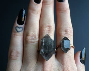 Raw smoky quartz double terminated crystal point inclusion copper electroformed ring