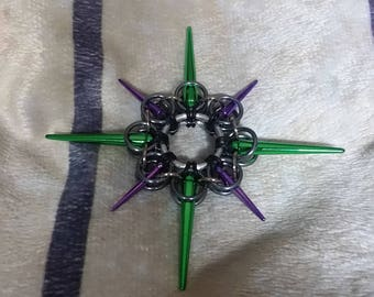 Green and purple chainmaille star