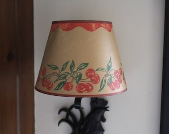Vintage Small Kitchen Lampshade, Small Lampshade with Cherries, Lampshade for Retro Kitchen, Kitschy Lamp Shade for Small Lamp, Cherry Shade