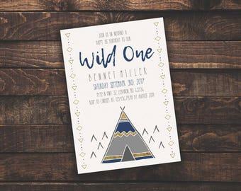 ACROBAT READER Wild One Boy 1st Birthday | Invitation Template, Boy/Kid Birthday Invite, Printable Invite, Instant Download, Easy to Edit