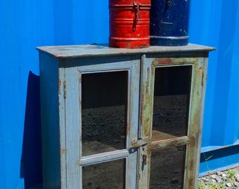 Vintage Painted Wooden Cabinet, from Rajasthan, India