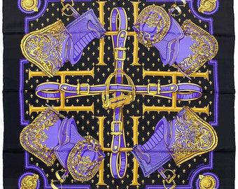 """HERMES SCARF Silk """"Selles a Housse"""" by Christiane Vauzelles Vintage 90cm Carre 100% Auth"""