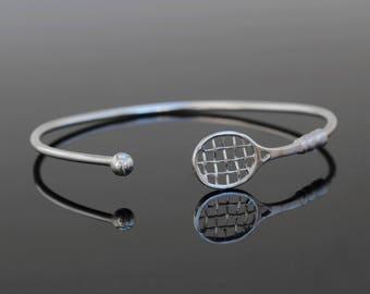 Siver Tennis Adjustable Bracelet, Tennis Mom Gift, Tennis Bracelet, Tennis Racket Bracelet, Tennis Gifts, Tennis Player Gift, Gift for her