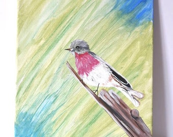 Clearance item, Painting of a Rose Robin, animal art on canvas