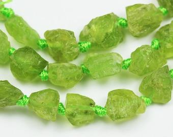 "Raw Peridot ,One Full strand Natural Nugget Shape Gemstone Beads, 8*9mm,16""-GEM1327"