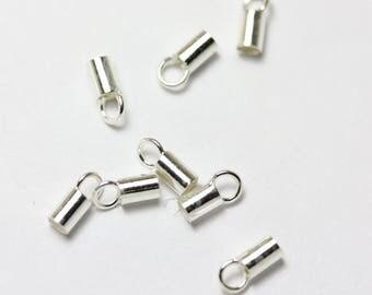 20pcs 925 Sterling Silver Cord End Jewellery Findings ,Glue in, 6.5*2.7mm,2mm inside diameter-FDSSC0004