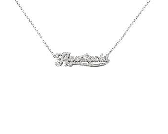 SNP16cz Silver Accent on First Initial Name Necklace with Cubic Zirconia