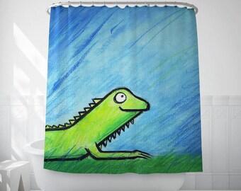Iguana Illustration Shower Curtain, Kids Shower Curtain, Fabric Curtains, Animal Lover Gift, Bath Decorations, Bathroom Curtain