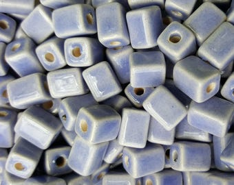 Mykonos Ceramic Greek Rectangular Beads, 8mm to 10mm - 10 Pieces