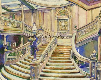 Framed Original Titanic Staircase Watercolor Painting. Nautical decor. Titanic painting. Ship wall art. Ship picture. Ship artwork.