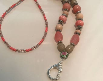 Peach and silver beaded lanyard