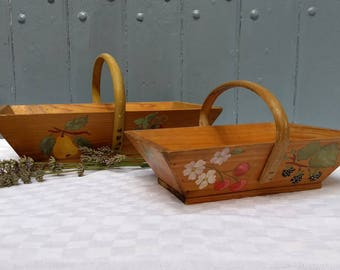 A very sweet rustic wooden garden trug / basket / panier, hand painted in floral and fruit design.