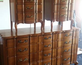 UNAVAILABLE for Custom Finish Permacraft 12 Drawer French Provincial Dresser Mirror Nightstands Bedroom Set Chic Glam Southern California