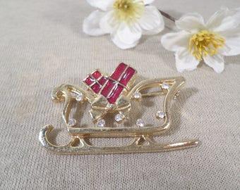 Beautiful Vintage Gold Tone Red Enamel And Rhinestone Christmas Sleigh Brooch  DL#2761