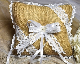 Burlap Hessian Rustic Country Wedding Ring Pillow with White Lace