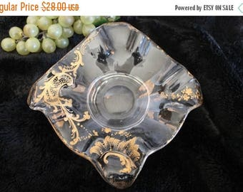 Christmas in July Antique Hand Blown Square Ruffled Glass Bowl with Art Nouveau Gold Gilding - Victorian European Glass