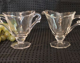 Heisey Glass Waverly Creamer and Sugar Bowl Set