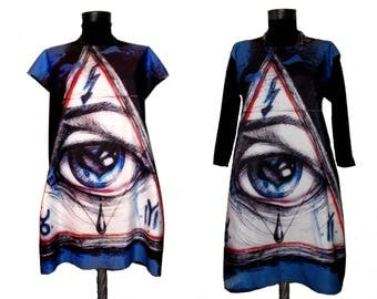 Black Short Gothic Dress With Illuminati Eye Pyramid Digital Print From Ink Drawing