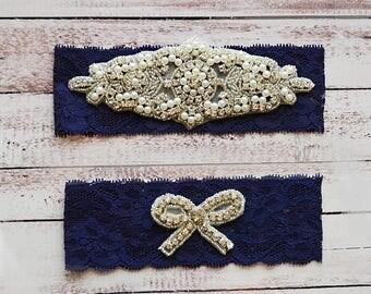 ON SALE Wedding Garter, NO Slip Lace Wedding Garter Set, bridal garter set, pearl and rhinestone garter set, vintage rhinestones Style A2040