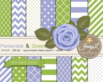 50% OFF Periwinkle and Green Digital Paper, Lavender Blue Flower Clipart for Wedding, Bridal Baby Shower, Birthday, Digital Scrapbooking, Pl