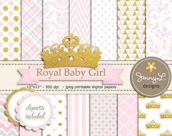 50% OFF Crown Digital papers and Clipart, Royal Princess Girl Baby Shower, Birthday Pink and Gold Birth Announcement, Scrapbooking Paper Par