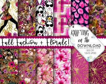 fall fashion paper pack watercolor fall fashion digital paper fall fashion paper pack watercolor fashion paper pack planner girl papers