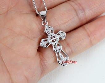 Cross necklace, sterling silver cross, flower cross pendant, cross necklace for women, catholic cross, christian cross, cross gift;  NE8233