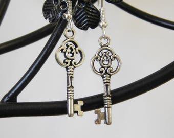 Key Charm Silver Dangle Dangly Drop Earrings Gothic