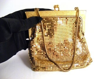 Gold metal mesh handbag
