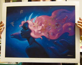 Cosmic Mermaid Hand-Embellished Limited Edition Archival Print