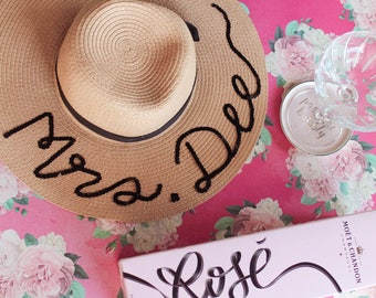 Personalized floppy hat - Personalized sun hat - Floppy hat- Floppy beach hat- Honeymoon hat - Bride gift - rose all day hat