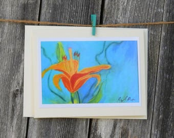 Free Shipping, Orange Lily Greeting Card, Flower Photo Print Card,  Lily Pastel Greeting Card, Gardner Greeting Card