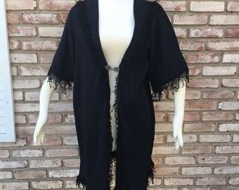 Kimono Cardigan, Knit Cardigan, Fall Cardigan, Womens Gifts, Fringed Kimono, Black Jacket, Kimono Jacket, Hook Clasp, Kimonos, Beachwear
