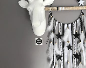 Dream catcher Driftwood - stars and white and black