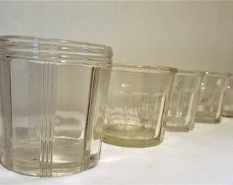 5 French vintage confiture jars