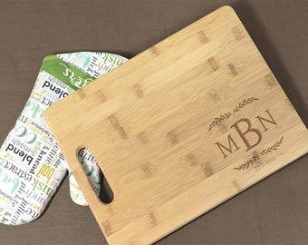 Personalized Monogram Cutting Board with Date, Wedding & Engagement Gift