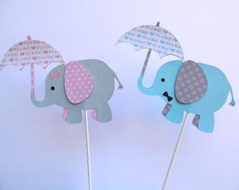 Itu0027s A Boy/Girl Elephant Baby Shower Cake Topper/Decoration
