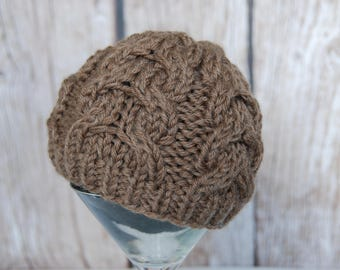 Ready to ship knitted cable hat, baby wool cable hat, natural yarn infant hat, newborn photography prop, photo prop for baby, wool baby hat