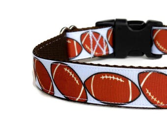 Pre-Made/Ready-to-Ship Brown and White Footballs Boy Dog Collar (Buckle)