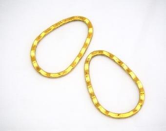 2 large oval antique gold metal 40x27mm connectors