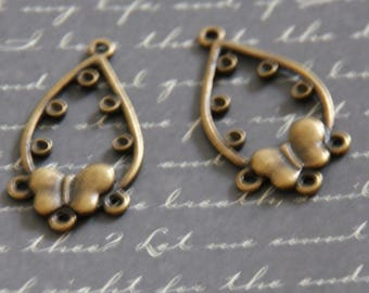 2 connectors drop with Rhinestone and bow bronze 37x15mm spaces