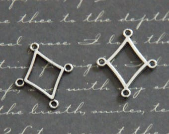 3 connectors diamond silver-plated 19, 5 x 23, 5mm