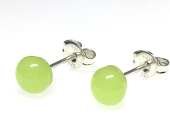 Earrings - Handmade Fused Glass Stud Earrings, Neon Glass and Sterling Silver Stud Earrings