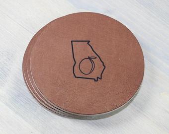 Georgia Peach Leather Coasters 4 Pack